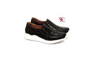 کفش چرمی زنانه راحتی آذین با طرح کروکودیل