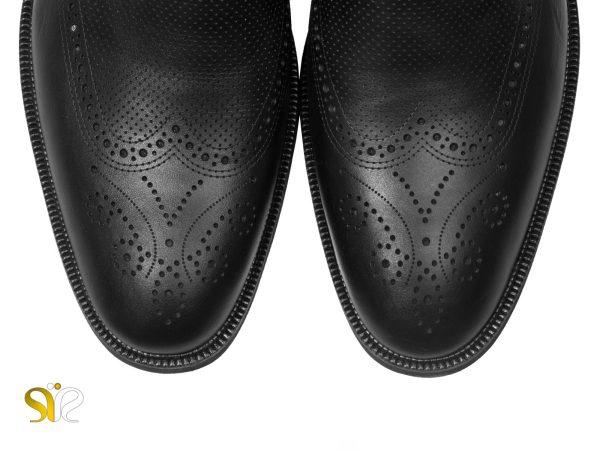 چرم مات کفش اداری مجلسی مردانه مدل بتا - مشکی - کفش اداری سی سی