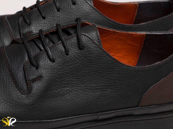 کفش چرم اسپورت مدل پادوس با آستر چرمی رنگ مشکی - کفش