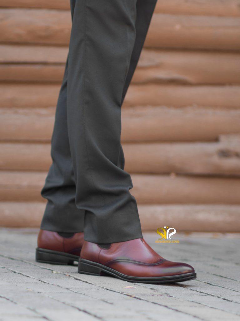 پوتین مردانه چرم مدل جکسون رنگ عسلی - کفش تبریز