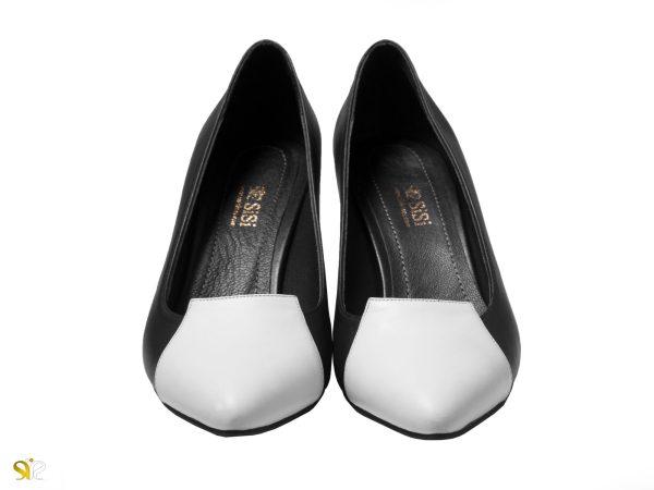 کفش سفید و سیاه زنانه پاشنه دار مدل آپرین سی سی