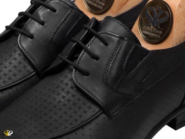 کفش کلاسیک مردانه مدل آرمان بنددار - رنگ مشکی - کفش سی سی
