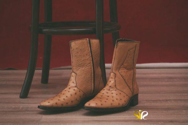 کفش مردانه چرم شترمرغ مدل بنتلی - کفش تبریز