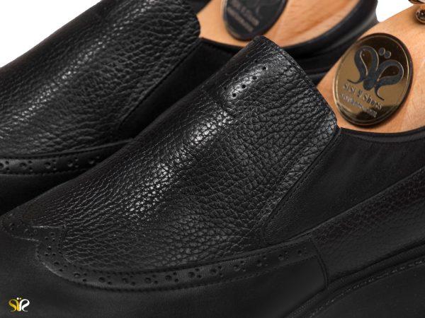 کفش چرم مردانه اداری مدل پاما بی بند - کفش سی سی