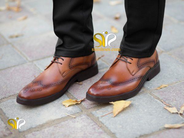 عکس کفش رسمی هشت ترگ چرم مدل بتا رنگ عسکلی - کفش هشت ترگ
