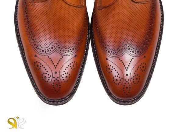 کفش اداری مردانه چرم دل بتا رنگ عسلی - کفش تبریز