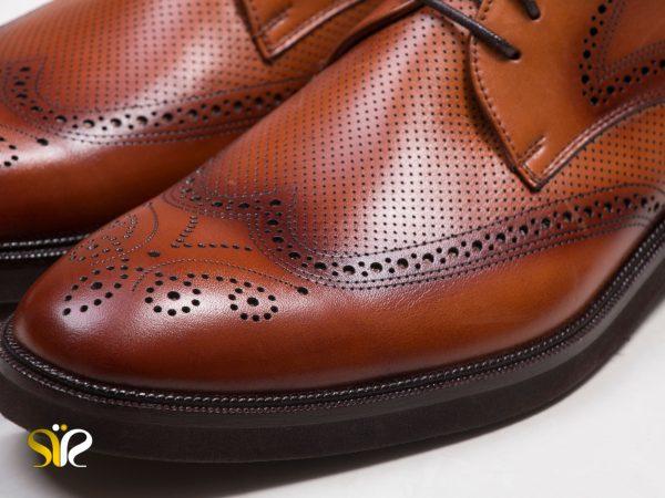کفش هشت ترگ مردانه رسمی مدل بتا عسلی - کفش چرم تبریز