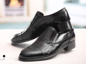 کفش مردانه چرمی ورنی با طرح فلوسی
