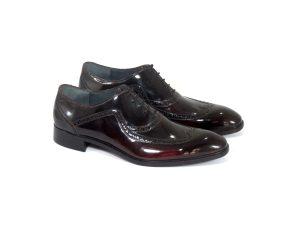 کفش چرمی مردانه ورنی با رویه دو رنگ