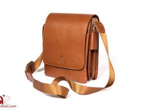 کیف چرمی دوشی رنگ عسلی
