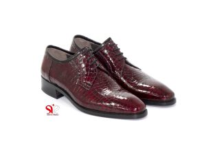 کفش چرمی مردانه زرشکی