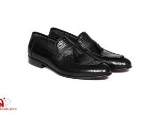 کفش چرمی مردانه با طرح ریز ورنی