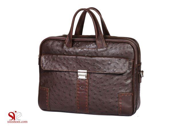 کیف چرمی لپ تاپ رنگ قهوه ای با چرم شترمرغ