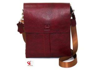 کیف چرمی دست دوز دوشی کد ۳۳۰ رنگ زرشکی