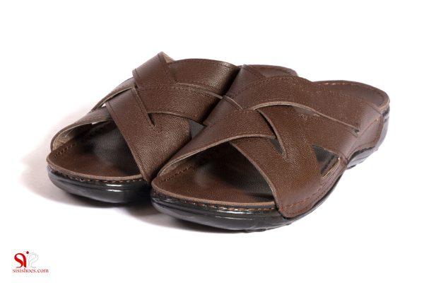 دمپایی چرم مردانه با کف طبی و نرم رنگ قهوه ای