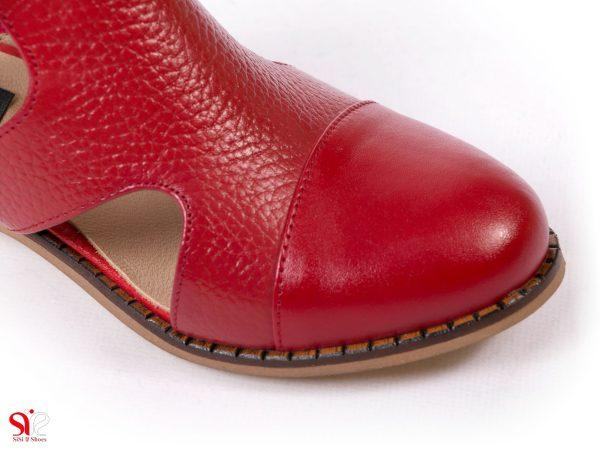 رویه چرم با رنگ قرمز کفش دخترانه تابستانی مدل سایا