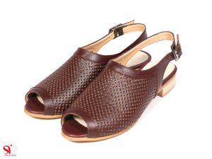 کفش تابستانی زنانه مدل مونیکا رنگ زرشکی سگک دار جلوباز
