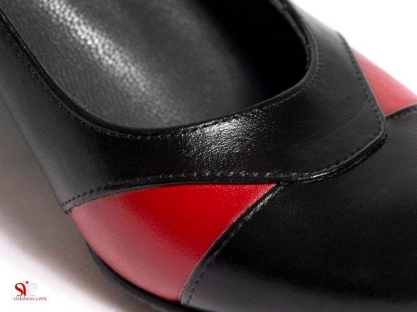 کفش زنانه مجلسی مدل مانلی با حاشیه های چرم قرمز