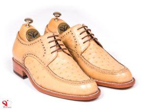 مدل کفش مردانه مدل برلیان طلایی با چرم شترمرغ و کاملا دست دوز