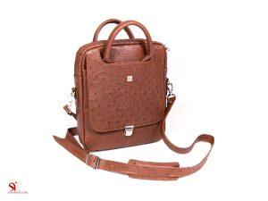 کیف دوشی مدل بودروم با چرم شترمرغ با کیفیت