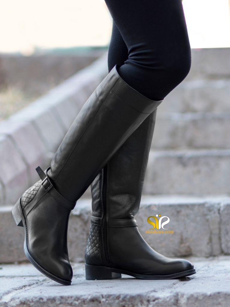 بوت ساق بلند زنانه پاشنه تخت مدل نیلسا - کفش سی سی