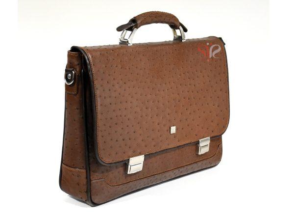 کیف رسمی و اداری مدل رابرتو با چرم شترمرغ
