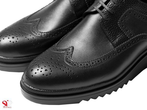 رویه چرم گاوی کفش مردانه نیومن رنگ مشکی