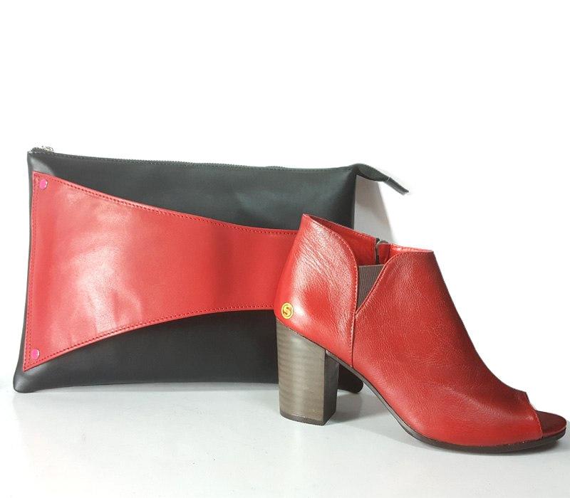ست چرمی کیف و کفش قرمز زنانه سی سی