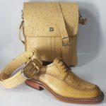 ست کیف و کفش و کمربند چرم شترمرغ مردانه سی سی
