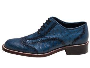 کفش مجلسی مردانه چرم شترمرغ مدل سامی رنگ آبی