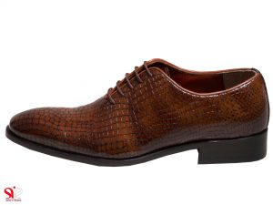 کفش مجلسی مردانه رنگقهوه ای روشن ورنی مدل راینا