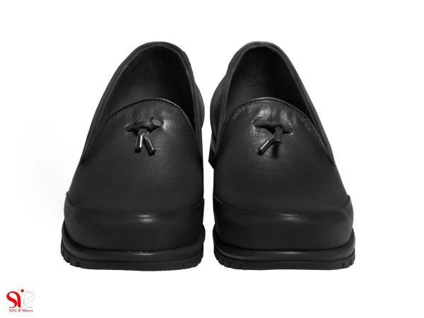 رویه چرم نرم مشکی کفش راحت زنانه مدل سلنا