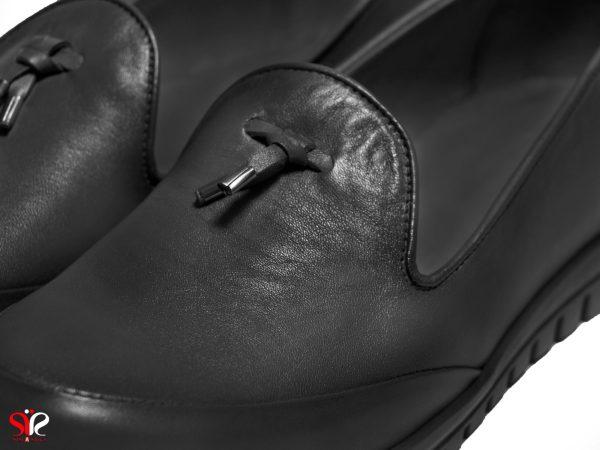 رویه چرم نرم کفش طبی راحت زنانه رنگ مشکی مدل سلنا سی سی