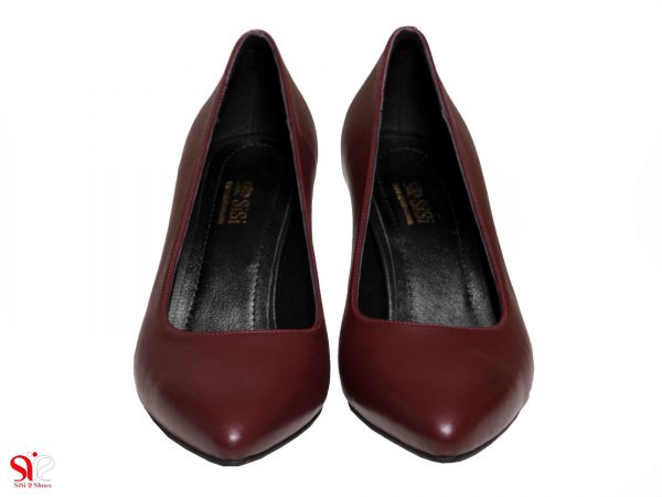 چرم طبیعی رنگ زرشکی کفش زنانه مدل سوفیا