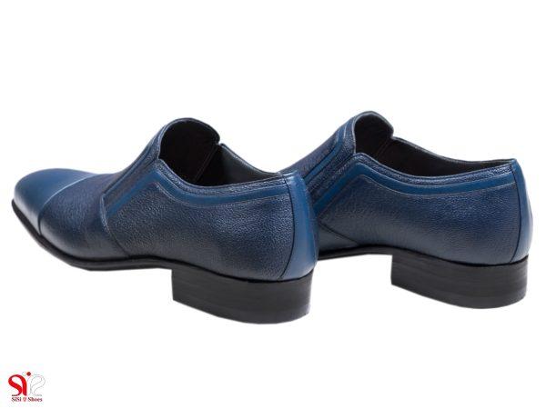 کفش تمام چرم مجلسی مردانه رنگ آبی سرمه ای مدل رویال سی سی