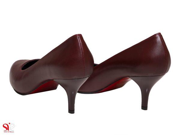 کفش زنانه با پاشنه 5 سانتی متری مدل سوفیا زرشکی