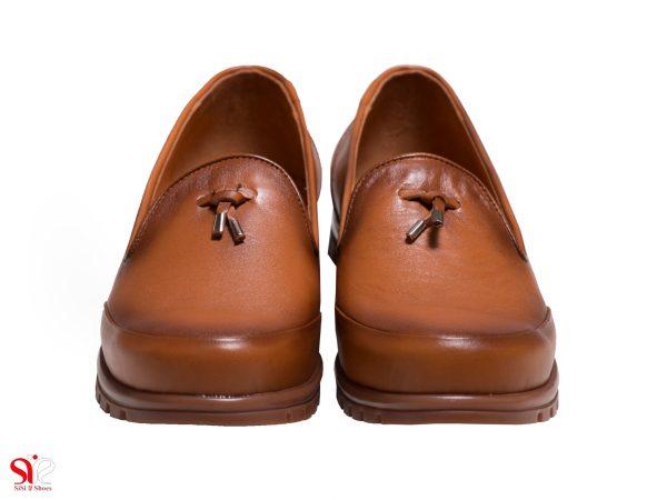 کفش زنانه رنگ عسلی چرمی مدل سلنا سی سی
