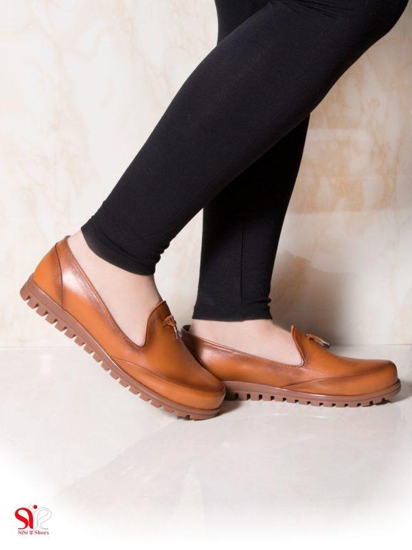 کفش زنانه ناسب برای استفاده روزمره و طولانی مدت مدل سلنا رنگ عسلی