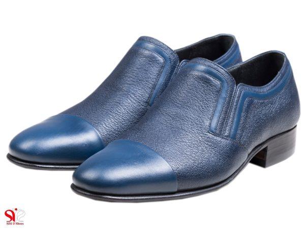 کفش مجلسی مردانه تمام چرم دست دوز مدل رویال رنگ سرمه ای آبی سی سی