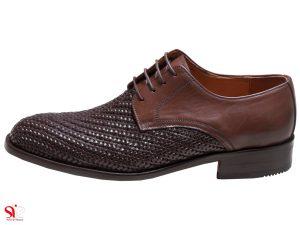 کفش مردانه مدل بافتی رنگ قهوه ای سی سی