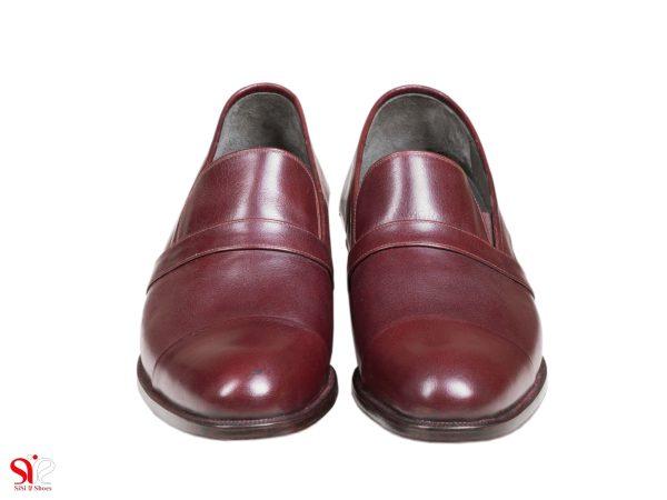 چرم زرشکی کفش مردانه مجلسی با پاشنه مخفی مدل فابیو