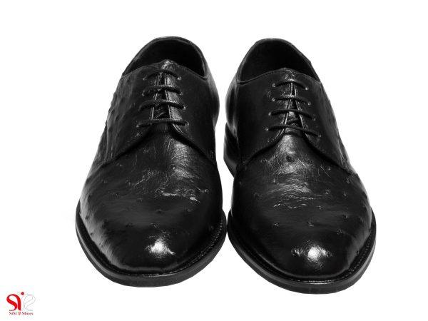 رویه چرم شترمرغ کفش دامادی مدل قصر سی سی