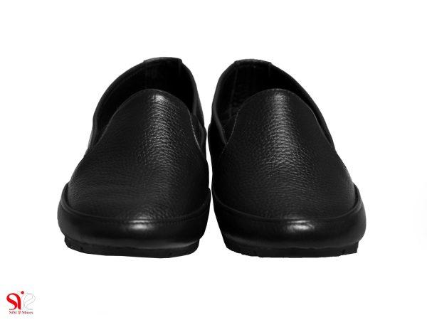 چرم طبیعی رنگ مشکی برای کفش اداری طبی زنانه مدل یاس