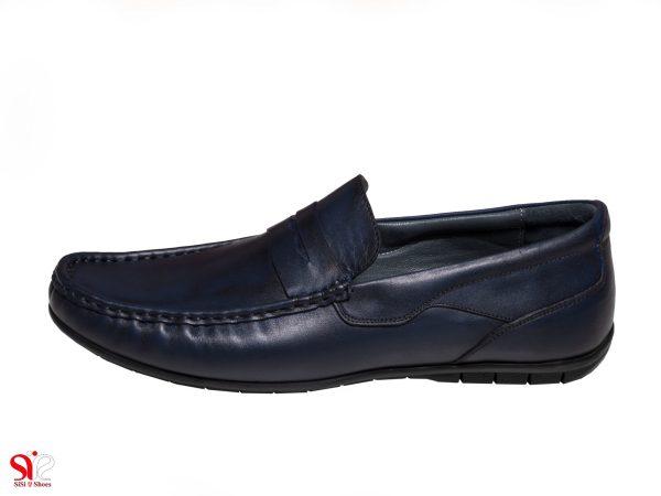 کفش کالج پسرانه مدل شانلی رنگ سرمه ای