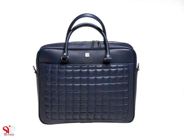 کیف چرم لپ تاپ مدل شانل رنگ سرمه ای سی سی