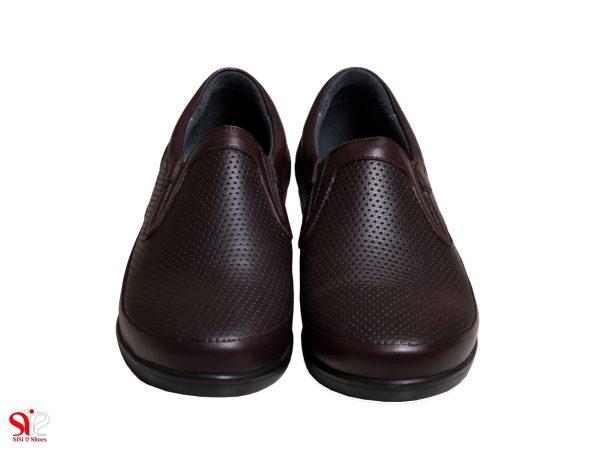 رویه چرم طبیعی کفش طبی زنانه رنگ قهوه ای مدل چینار سی سی