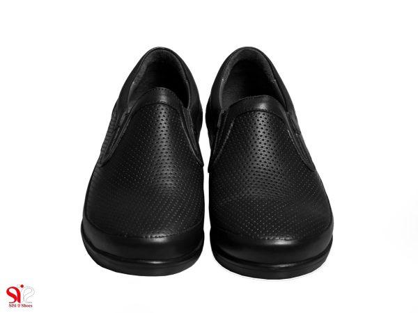 رویه چرم طبیعی گاوی کفش زنانه طبی مدل چینار سی سی رنگ مشکی