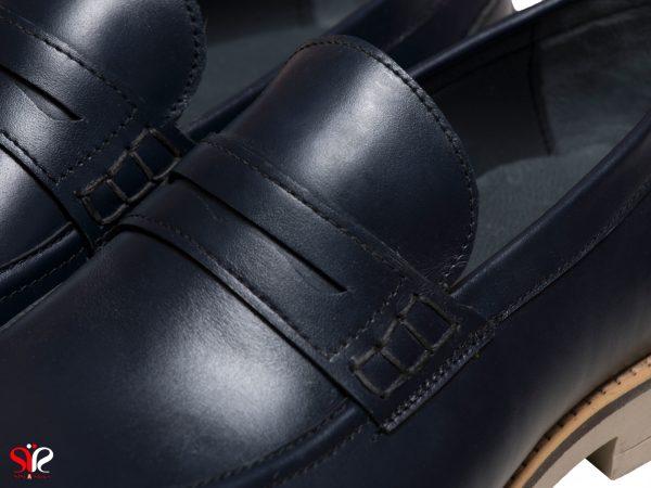زیره رابر و رویه چرمی کفش مردانه مدل دیاکو سی سی رنگ سرمه ای