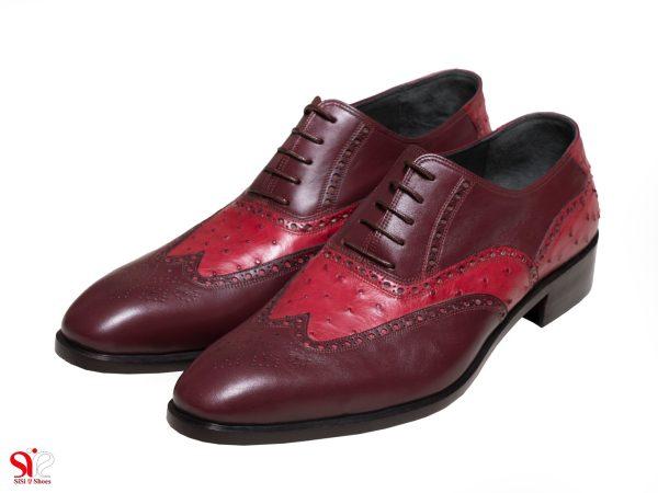 عکس مدل کفش مردانه دامادی رنگ زرشکی ارس سی سی