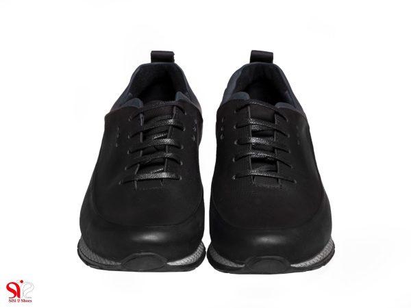 کفش اسنیکر چرم مردانه مدل تولی رنگ سرمه ای
